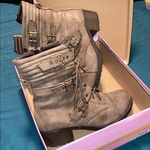 "Super cute/comfy strappy combat boots ""worn once"""